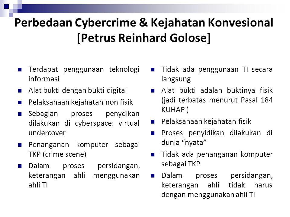 Perbedaan Cybercrime & Kejahatan Konvesional [Petrus Reinhard Golose]
